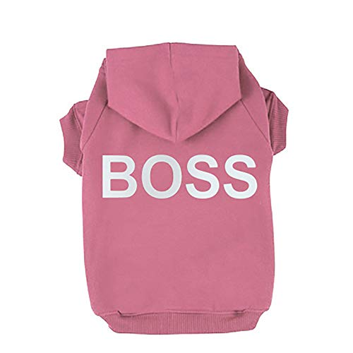 BingYELH Pets Boss Dog Shirts Clothes Hoodie Hooded Teddy Pullover Sweatshirt Cotton Winter Warm Coat Puppy Shirt ()