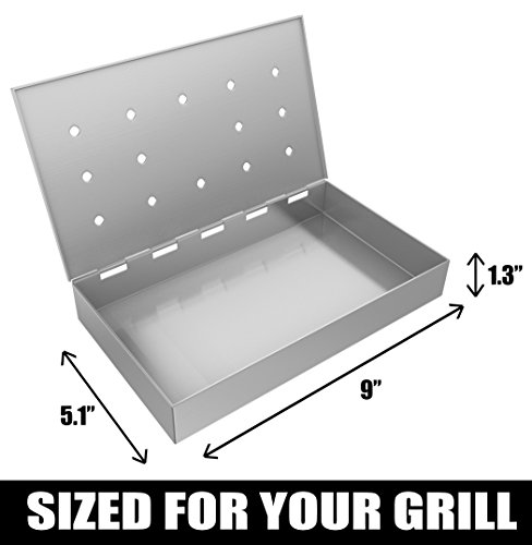 Smoker Box Maximum Wood Chip Capacity - 25% Thicker Stainless Steel Won't WARP - Charcoal & Gas Grill BBQ Meat Smoking Hinged Lid - Best Grilling Accessories & Barbecue Utensils for Dad by Cave Tools (Image #4)
