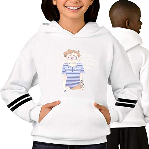Evan-Han-sen Youth Hoodie Pullover Sweater Fashion Hooded for Teen Girls Boys S White