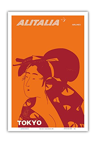 Pacifica Island Art Tokyo Japan - Geisha - Alitalia Airlines - Vintage Airline Travel Poster c.1960s - Master Art Print - 12in x 18in