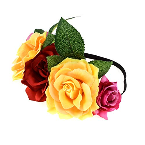 Accesyes Custom Mexican Flower Crown Day of The Dead Hawaiian Boho Frida Floral (Red-Yellow-HB)