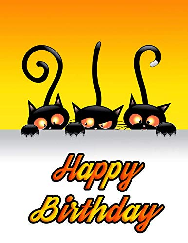 Happy Birthday: Cute Halloween Black Cat Themed Primary Writing Tablet for Kids, 65 Sheets of Practice Paper with 1