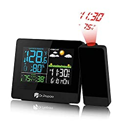 Dr. Prepare Projection Alarm Clock, Digital Clock Projector on Ceiling with Indoor/Outdoor Temperature Display, Dual Alarms, Snooze, Colored Backlight, Weather Forecast, and Battery Backup for Bedroom