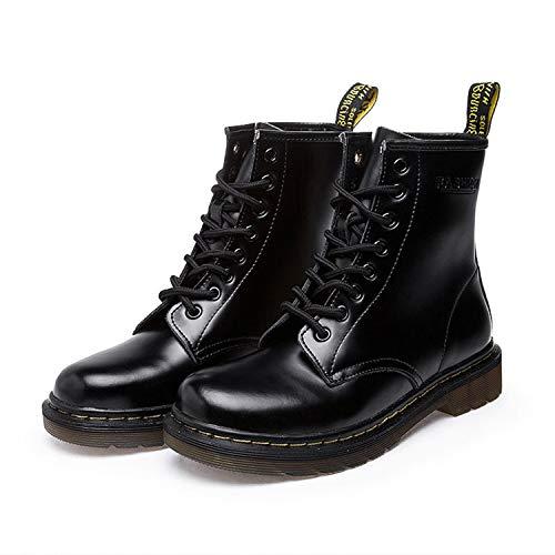 SincerityS Pumps Women Boots Work Boots Solid Ankle Boots Female Punk Women Shoes Size 46 Bright Black 7 (Michelle Boots D)