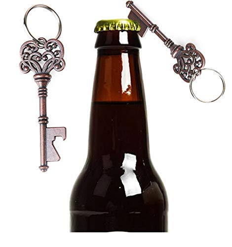 2pcs Key Shape Beer Bottle Opener Vintage Retro Keychain Key Ring Metal Bronze Silver Kitchen Party Bar Tool ()
