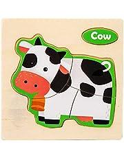 ZXZCHGN Houten puzzels, houten dierlijke puzzels for peuters, educatief Montessori-speelgoed, handgemaakt kindertijdvraagspeelgoed for baby 12 maanden en hoger