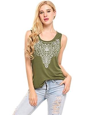 Zeagoo Women's Summer Sleeveless/Long Sleeve Street Printed T Shirt Tank Tops Graphic Tees