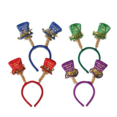 Year Happy New Top Hat (Happy New Year Top Hat Boppers (asstd colors) Party Accessory  (1 count) (1/Pkg))