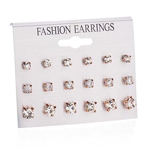 - Botrong Fashion Earrings Ear Ring Set Combination Of 9 Sets Of Heart-shaped Earrings (Gold)