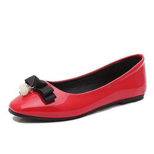 AllhqFashion Damen Quadratisch Zehe Ziehen auf PU Leder Rein Niedriger Absatz Pumps Schuhe Rot