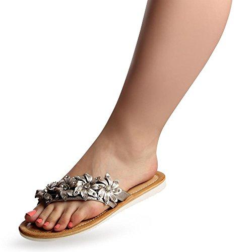 topschuhe24 - Sandalias de vestir para mujer plateado