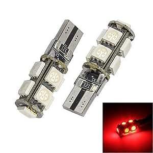 Error Merdia T10 9x5050SMD LED rojo libre de Canbus bombilla del coche (12V / par)