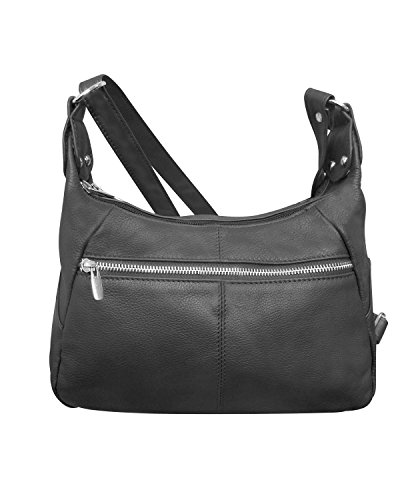 Main Zippered Pocket (Roma Leathers Leather Shoulder Purse - Double Main Compartments, Long Adjustable Strap - Black)