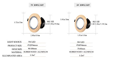 2 Pack LED Ceiling Light Downlight Recessed Lighting, Wood and Aluminum Combined, 5W/7W Round Down Light Home Lighting Decoration, Halogen Bulb Replacement (Warm White, 5Watt) by YUELGUANG (Image #6)