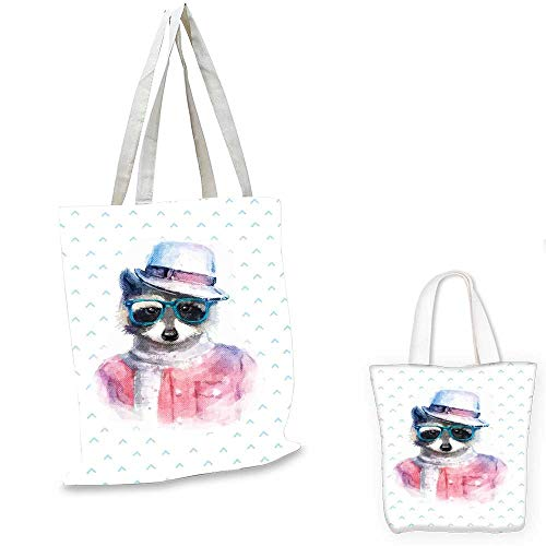 Funny canvas messenger bag Retro Hipster Funky Raccoon with Sunglasses Hat Pullover Portrait Animal Humor Theme shopping bag for women Pink Blue. 12
