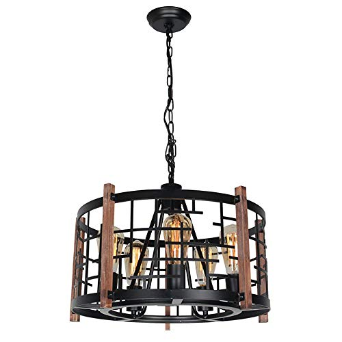 Baiwaiz Round Wood Rustic Chandelier, Black Farmhouse Pendant Light Fixture Industrial Metal Cage Chandelier 5 Lights Edison E26 082