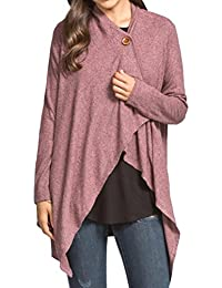 Women's Two-Tone Hacci Knit Wrap Cardigan With Button Detail