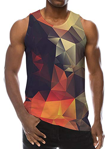 Loveternal Beach Surf Graphic Tank Tops for Men 3D Diamond Geometric Gym Tee Colorful Bodybuilding Workout Shirts Color Block Sleeveless Tees Muscle Tank Tops XL