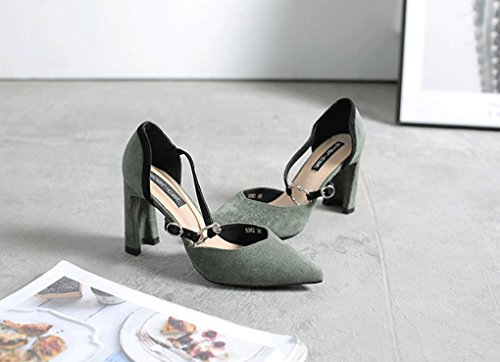 2 Europa Tacones Primavera Tacones América de Acentuados y LBDX Altos Altos Gruesos Zapatos Mujer Sandalias 6dqFF