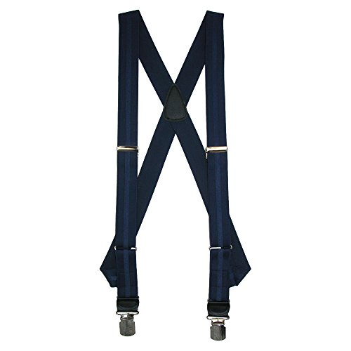 CrookhornDavis Men's Side Clip Elastic Jacquard Striped Braces, Navy by CrookhornDavis (Image #1)