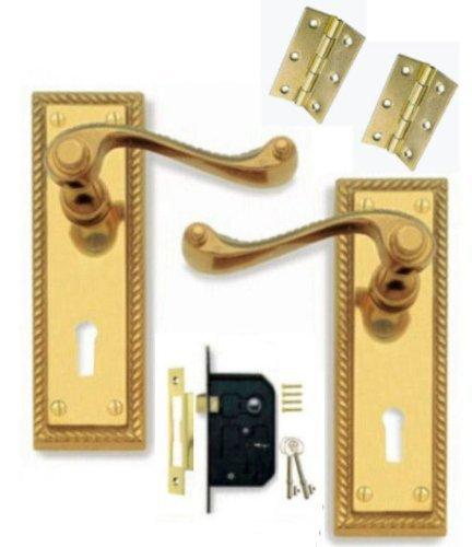 2 KEYS UK STOCK 2 LEVER LOCK DOOR HANDLES KEYED FULL SET PACK