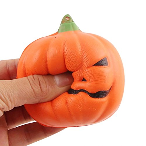 Joykith Stress Reliever Halloween Soft Pumpkin Cartoon Squishy Slow Rising Squeeze Toy Phone Straps