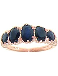 14K Rose Gold Ladies 5 Stone Sapphire English Victorian Style Ring