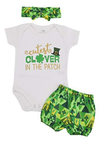 Unique Baby Girls 1st St Patricks Day Cutest Clover Shorts Layette (9 -