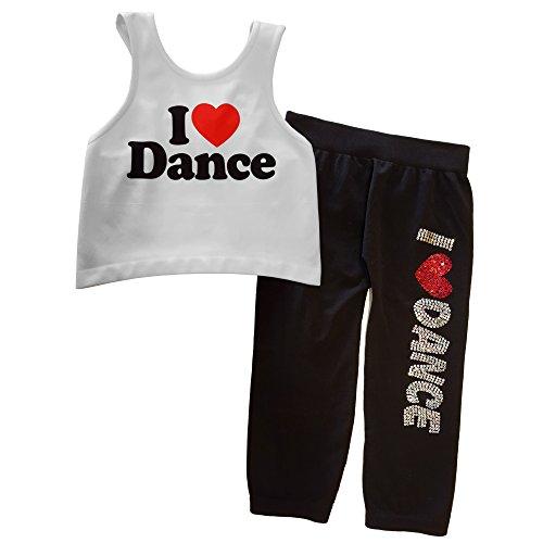 Idea Girl's I Love Dance Racerback Crop Top and Capri Leggings Set by Idea