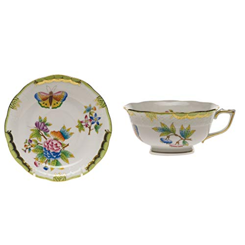 Herend Queen Victoria Green Porcelain Tea Cup and Saucer