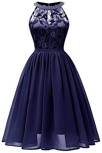 Women Sleeveless Halter Lace Bridesmaid Prom Party Dress F10 (Navy Blue, - Print Gown Halter