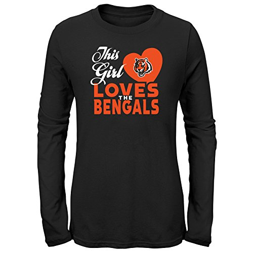 Cincinnati Bengals Sugar - NFL by Outerstuff NFL Cincinnati Bengals Youth Girls This Girl Loves Long Sleeve Fashion Fit Tee Black, Youth Small(7-8)