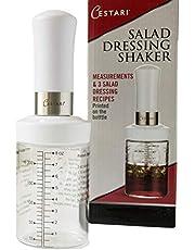 Salad Dressing Shaker: Premium Borosilicate Glass Bottle with Mixer Insert • Leak Proof Salad Dressing Blender and Dispenser with Measurements and Recipes • Reusable Vinaigrette Cruet