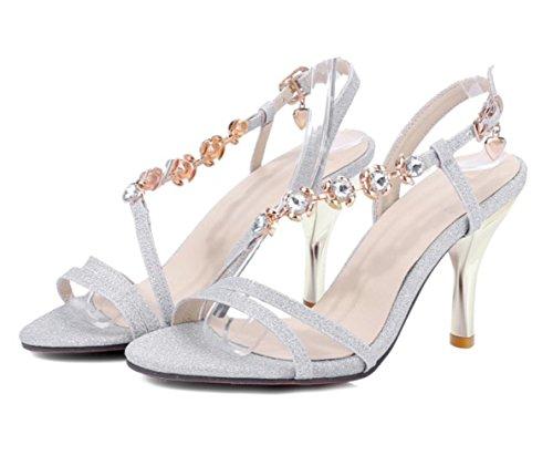 Luce YCMDM donne sandali primavera-estate Soles similpelle casuale tacco a spillo Rosa Argento Oro , silver , us9.5-10 / eu41 / uk7.5-8 / cn42