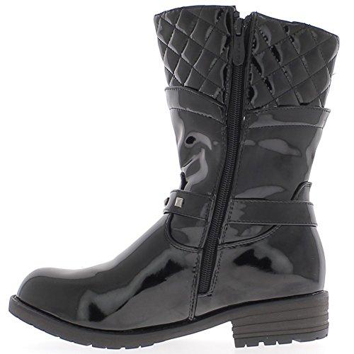 Stivali donna nero verniciato tacco 4cm riempito