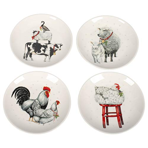 Barnyard Animals Ceramic Plates - Set of 4 (Barnyard Dinnerware Animals)