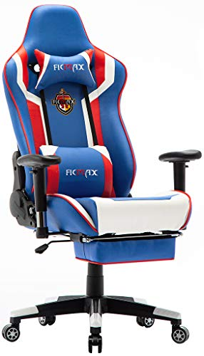 Ficmax Massage Gaming Chair Ergonomic Gamer Chair with Footrest Reclining Computer Gaming Chair High Back Home Office Chair Height Adjustable Gaming Desk Chair with Headrest and Lumbar Support