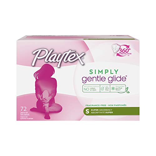 Playtex Gentle Glide Unscented Tampons with 360° Protection, Super Absorbency, 72 Count