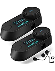 Freedconn TCOM-SC Motorcycle Helmet Bluetooth Intercom with FM Motorcycle Bluetooth Headset Communication Systems Bluetooth Interphone for Motorbike/Riding/Skiing (800m,LCD Screen,2Pcs of Hard Cable)