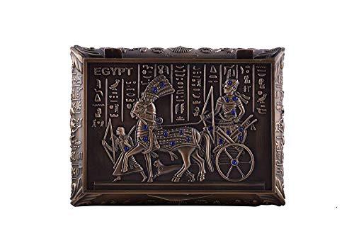 Vintage Ancient Egyptian Red Copper Rhinestones Jewelry Box Pharaohs Trinket Box/Gift Box Black Velvet Lining (Bronze with Blue Rhinestones) (Bronze Pendant Velvet)
