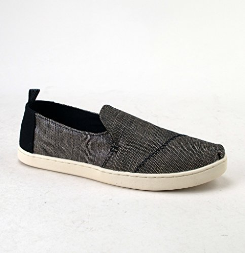 TOMS Women's Deconstructed Alpargata Black Metallic Woven 6 B US