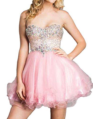 Strapless Rhinestone - Meier Women's Strapless Rhinestone Sweet 16 Homecoming Prom Short Tulle Dress Pink 14