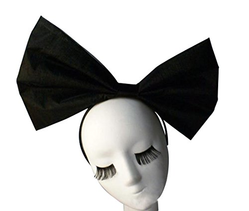 Anogol Huge Large Women's Bow Hair Bands Headdress Party Props Headband Hair Accessories for Cosplay Halloween Black Bowknot