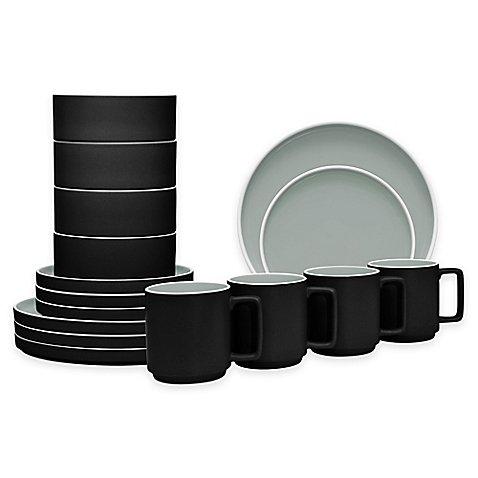 Colortrio Stax 16-piece Dinnerware Set in Graphite