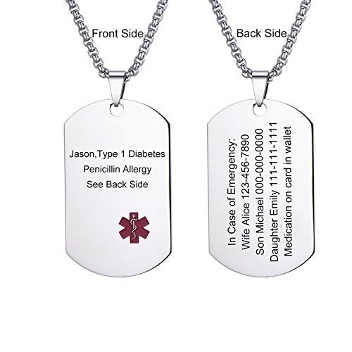 LMXXV Custom Engraving Metal Military Medical Alert ID Stainless Steel Dog Tag Pendant Necklace with 24 Inch Chain