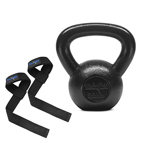 Yes4All Solid Cast Iron Kettlebells – Weight Available: 5, 10, 15, 20, 25 to 80 lbs (I - Black 30lb)