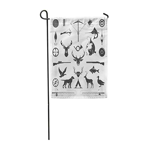 (Semtomn Garden Flag 28x40 Inches Print On Two Side Polyester Hunting and Fishing Vintage Deer Head Hunter Weapons Forest Wild Animals Home Yard Farm Fade Resistant Outdoor House Decor)