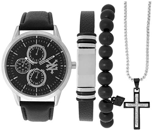 Men Zoo - Zoo York Men's Watch Gift Pack- Matching Leather and Bead Bracelets - Silver Cross Necklace