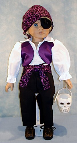 18 Inch Doll Clothes - Purple Pirate Halloween Costume handmade by Jane Ellen to fit 18 inch boy dolls