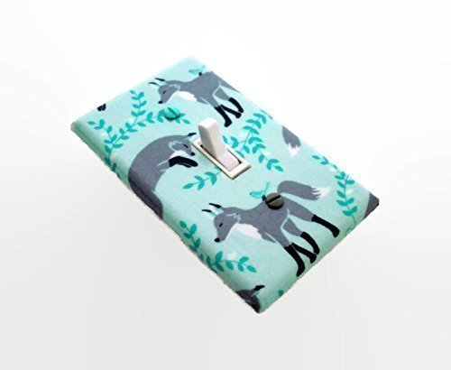 Grey Woodland Foxes on Aqua Light Switch Cover
